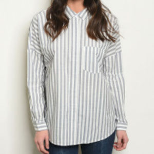 Stripped Button/Up Bow Tied Rear Neck  Sm, LG